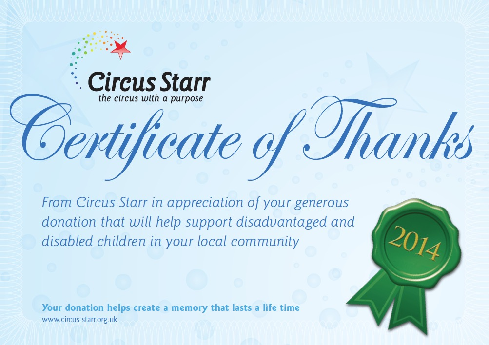 Charity chris ball roofing certificate of thanks awarded to chris ball roofing from circus starr in appreciation of a generous donation that will help support disadvantaged and yadclub Image collections